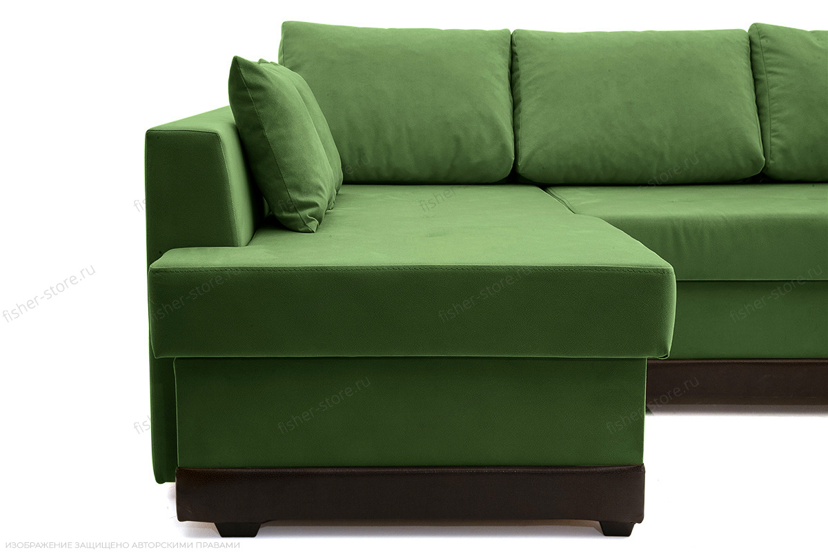 Угловой диван Нью-Йорк-2 Maserati Green + Sontex Umber Ножки