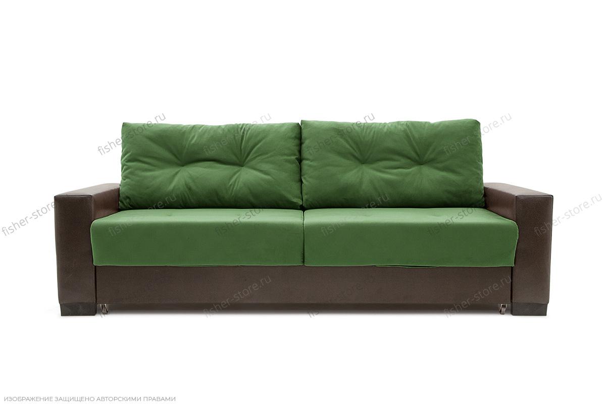 Прямой диван Хлоя Maserati Green + Sontex Umber Вид спереди