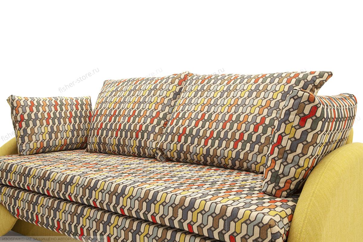 Светлый диван Ода History Bricks + Orion Mustard Подушки