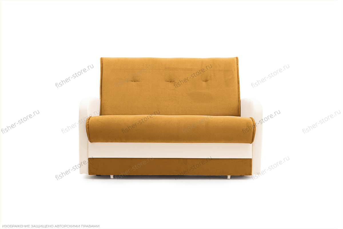 Прямой диван Аккорд  Amigo Yellow + Sontex Milk Вид спереди