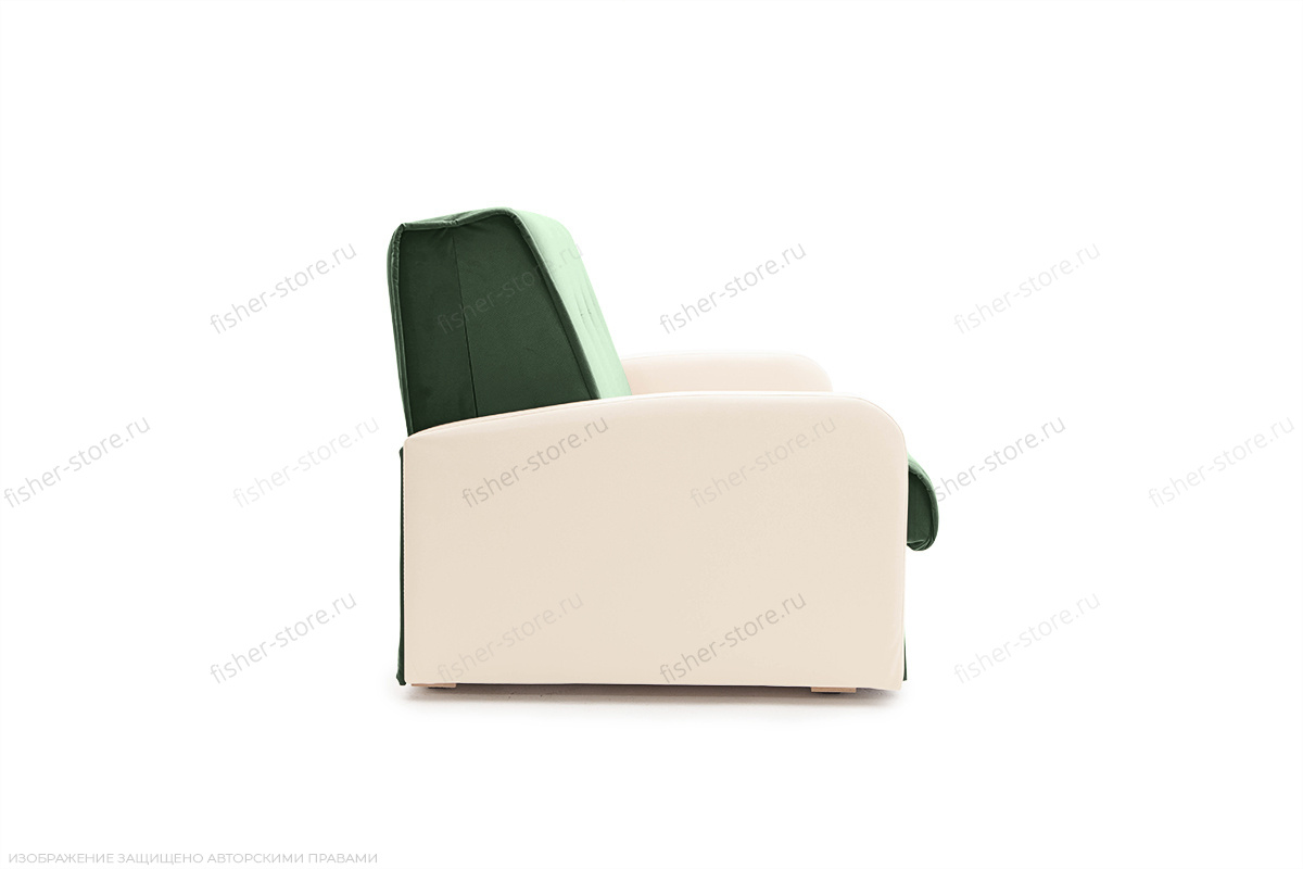 Прямой диван Аккорд  Amigo Green + Sontex Milk Вид сбоку
