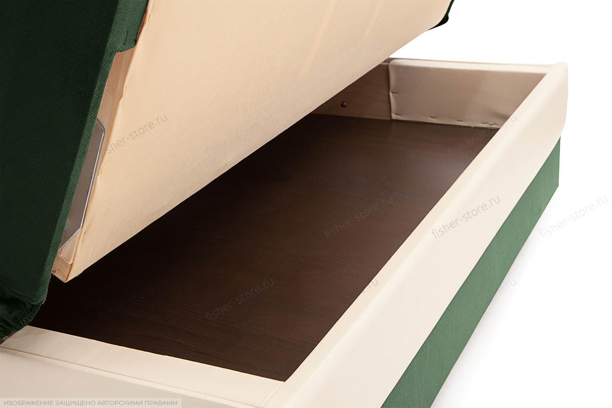 Прямой диван Аккорд  Amigo Green + Sontex Milk Ящик для белья