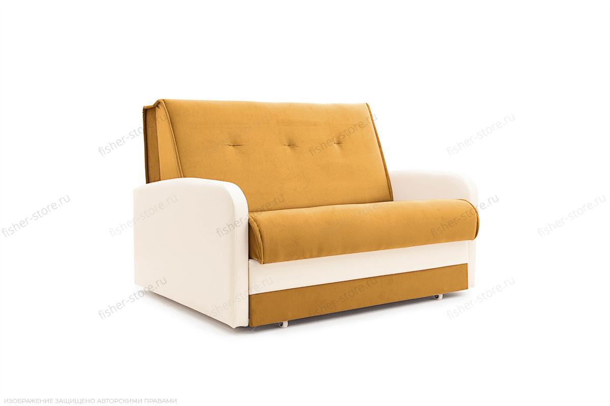 Прямой диван Аккорд  Amigo Yellow + Sontex Milk Вид сбоку