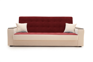 Прямой диван Берри люкс Maserati Red + Beight Вид спереди