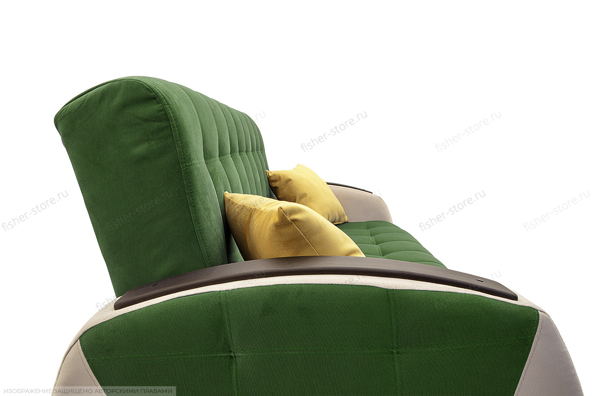 Прямой диван Вито-4 Maserati Green + White Подушки