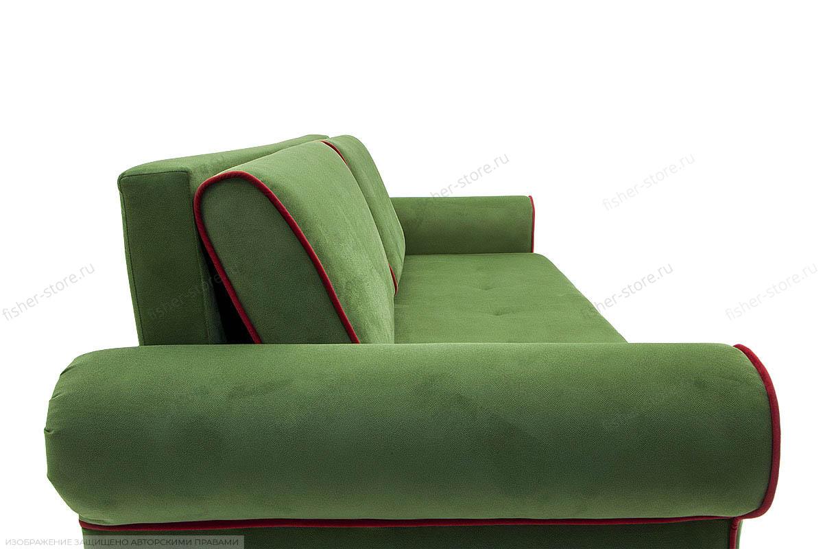 Прямой диван еврокнижка Олимп Maserati Green + Red Подушки