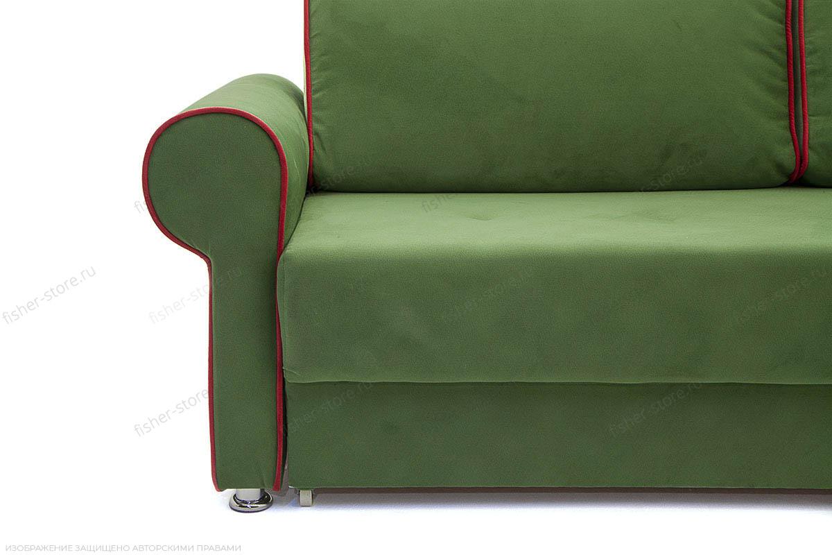 Прямой диван еврокнижка Олимп Maserati Green + Red Ножки