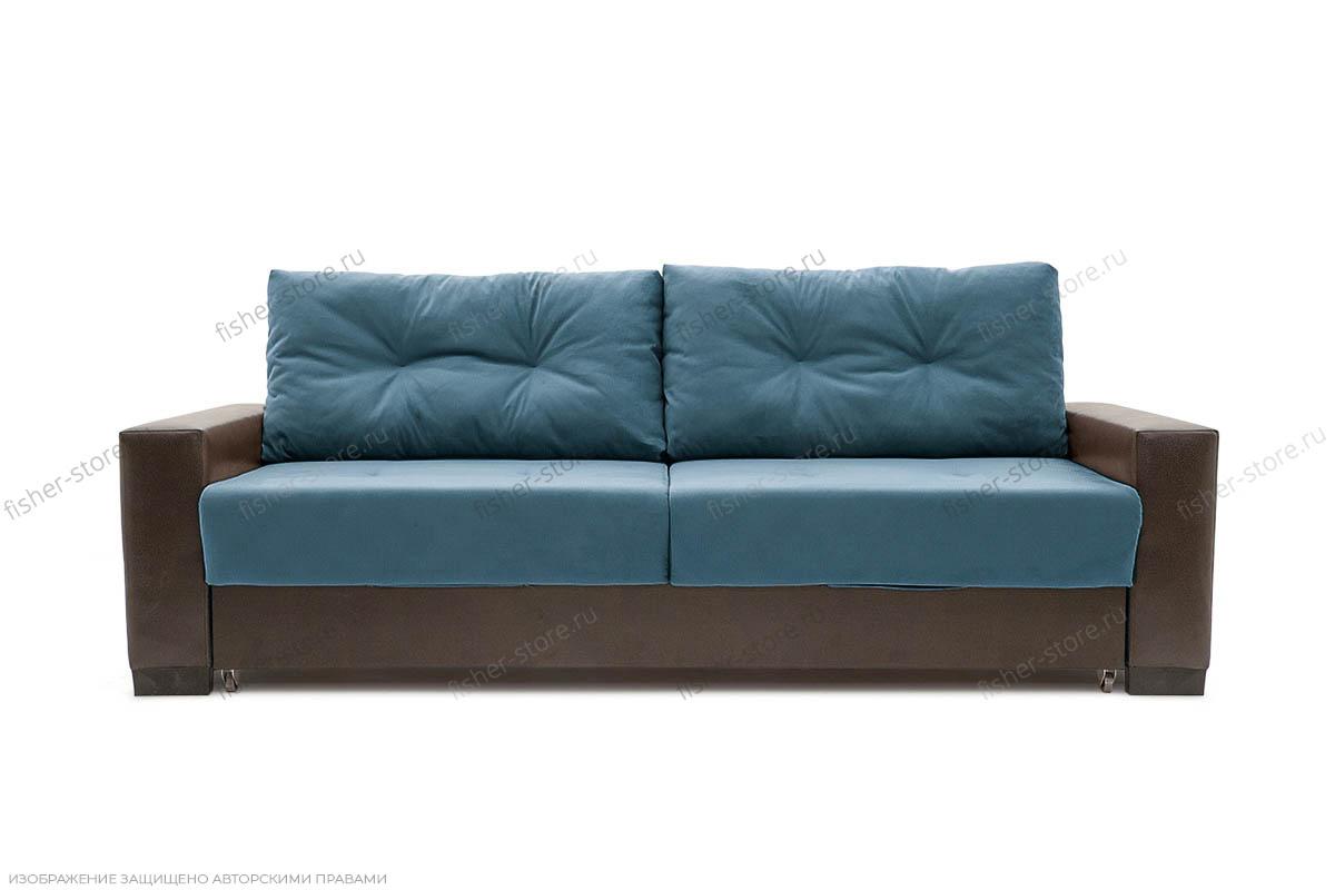 Прямой диван Хлоя Maserati Blue + Sontex Umber Вид спереди