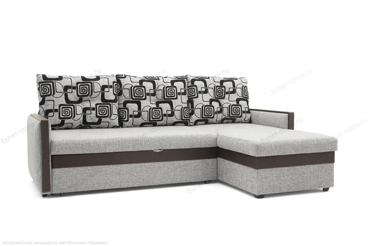 Угловой диван Джексон с накладками МДФ Big Grey + TV Вид по диагонали