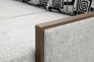 Угловой диван Джексон с накладками МДФ Big Grey + TV Подлокотник