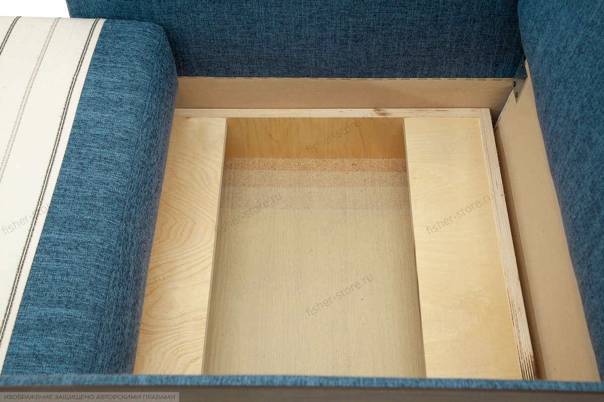 Двуспальный диван Этро-2 с опорой №1 Orion Denim Ящик для белья