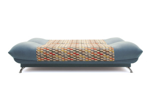 Прямой диван Хилтон-2 вилка Dream Blue + History Bricks Спальное место