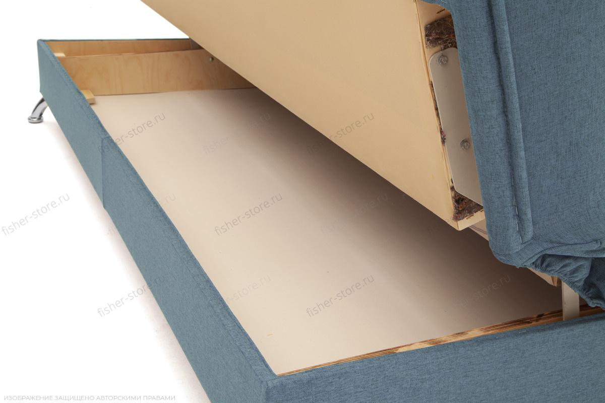 Прямой диван Хилтон-2 вилка Dream Blue + History Bricks Ящик для белья