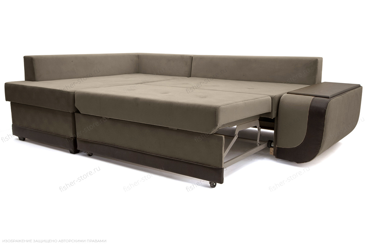 Угловой диван Нью-Йорк-2 Maserati Gray-Beight + Sontex Umber Спальное место