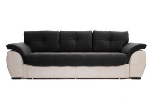 Прямой диван Соренто Maserati Black + Sontex Beige Вид спереди