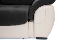 Прямой диван Соренто Maserati Black + Sontex Beige Ножки