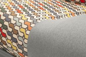 Прямой диван Хилтон-2 вилка Dream Light grey + History Bricks Текстура ткани