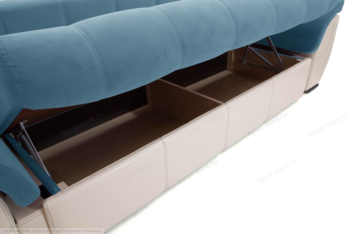 Прямой диван Соренто Maserati Blue + Sontex Beige Ящик для белья