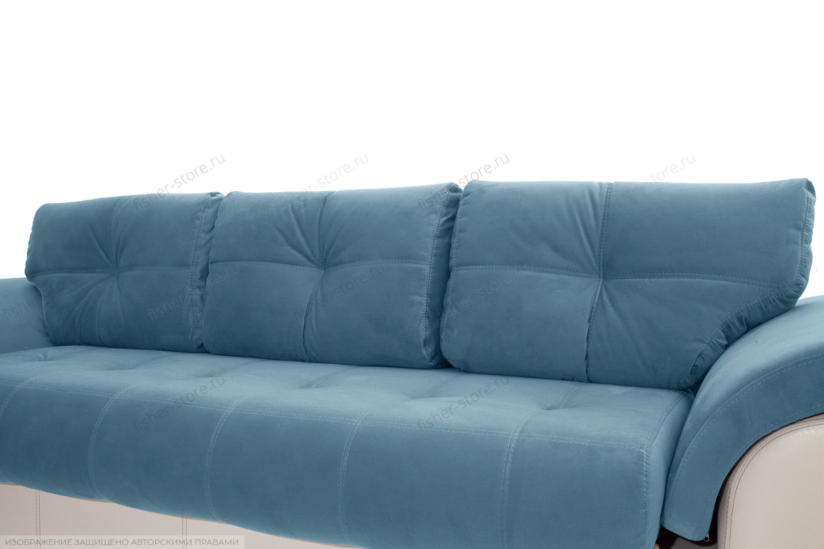 Прямой диван Соренто Maserati Blue + Sontex Beige Подушки