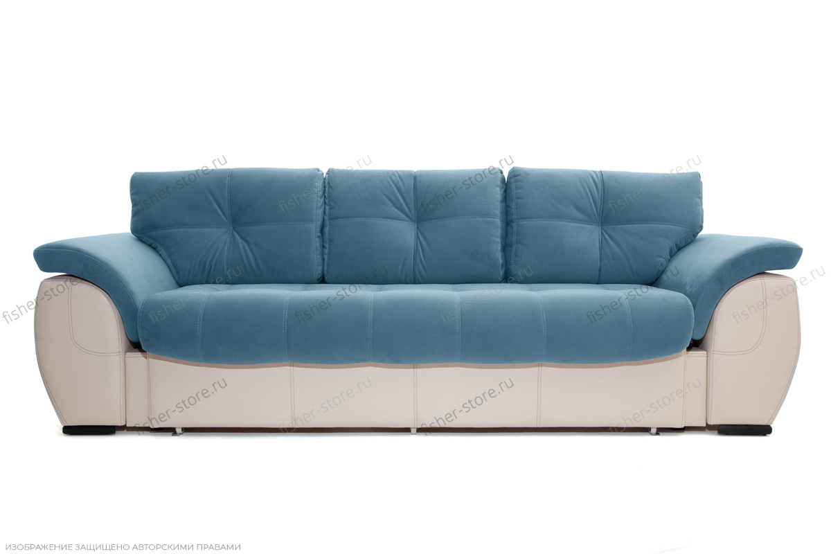 Прямой диван Соренто Maserati Blue + Sontex Beige Вид спереди