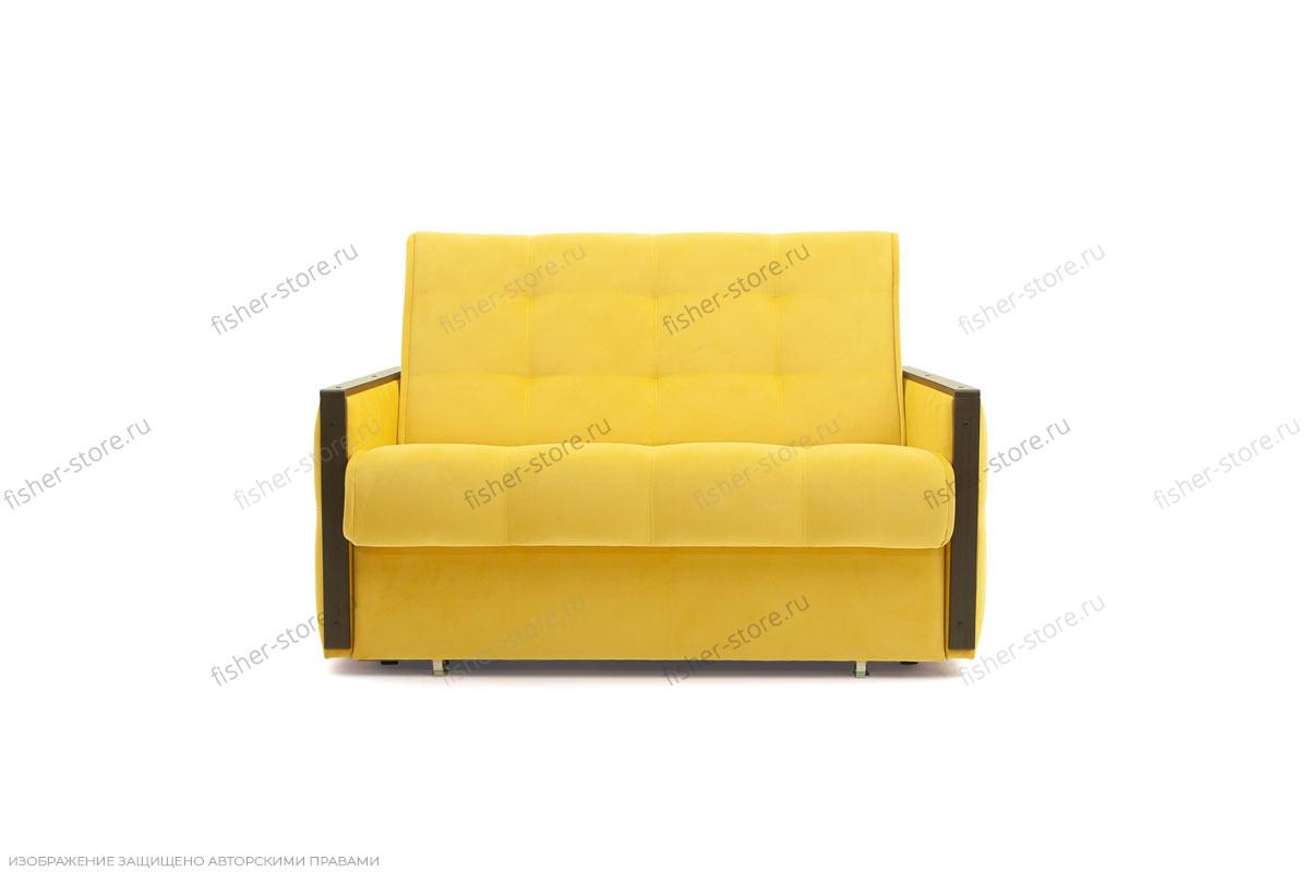 Прямой диван Аккорд-7 с накладками МДФ  Amigo Yellow Вид спереди
