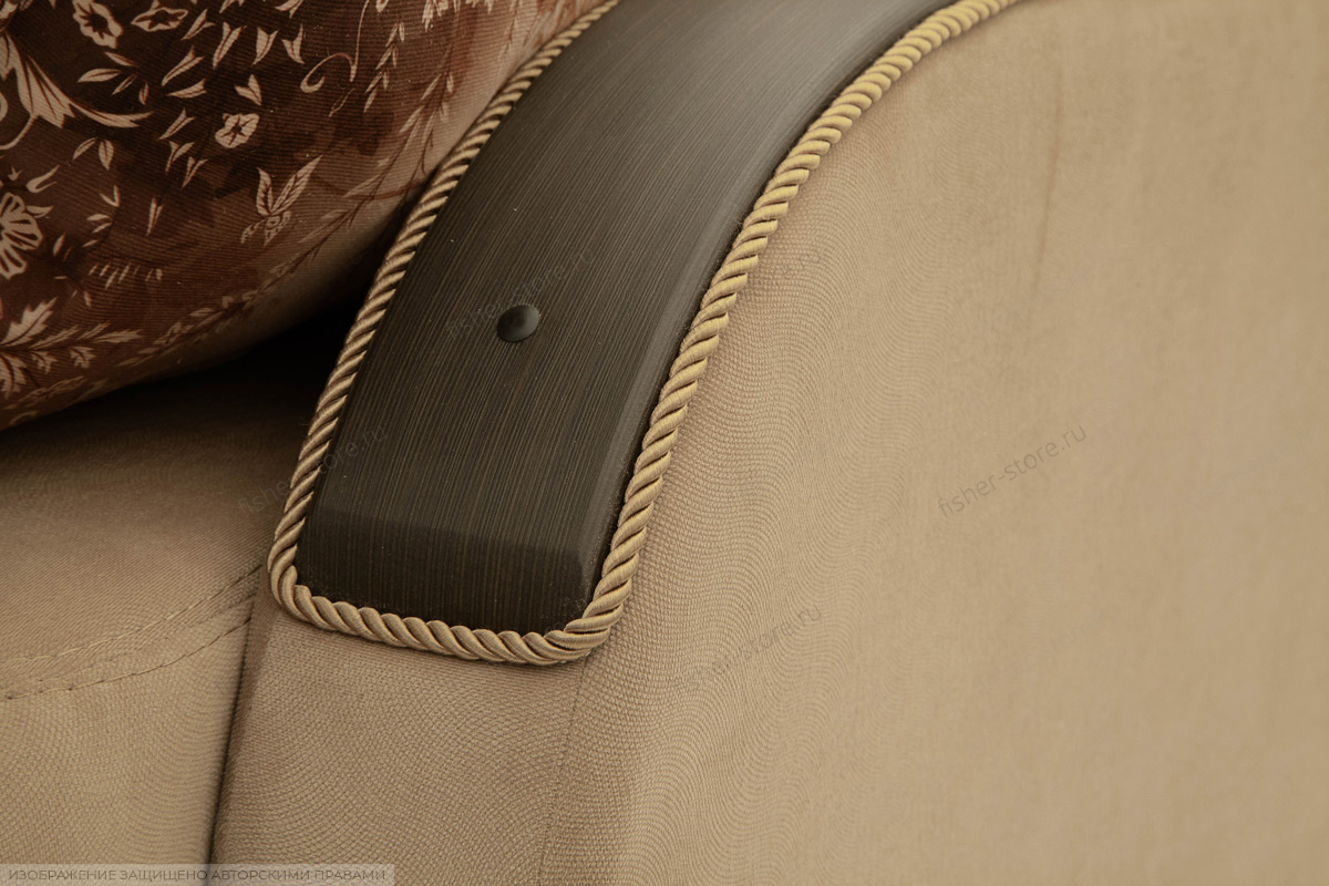 Прямой диван еврокнижка Варшава люкс Maserati Light brown + Alfa 04 Подлокотник