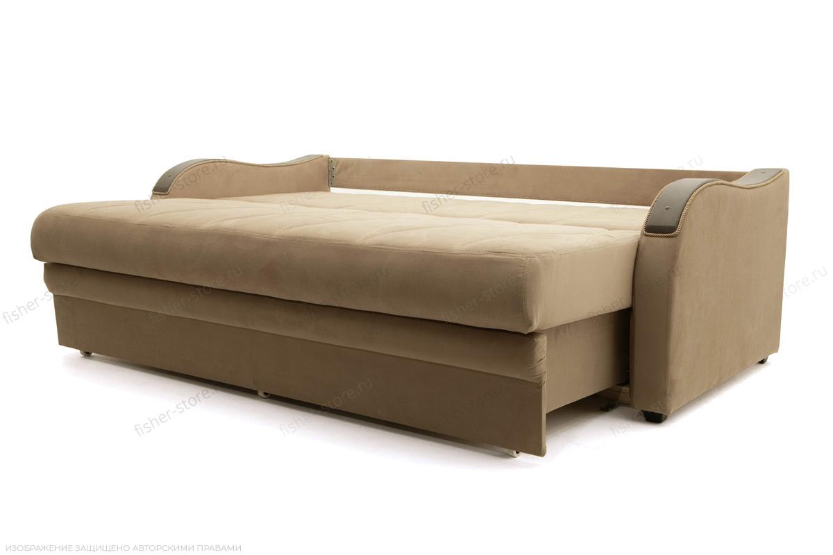 Прямой диван еврокнижка Варшава люкс Maserati Light brown + Alfa 04 Спальное место