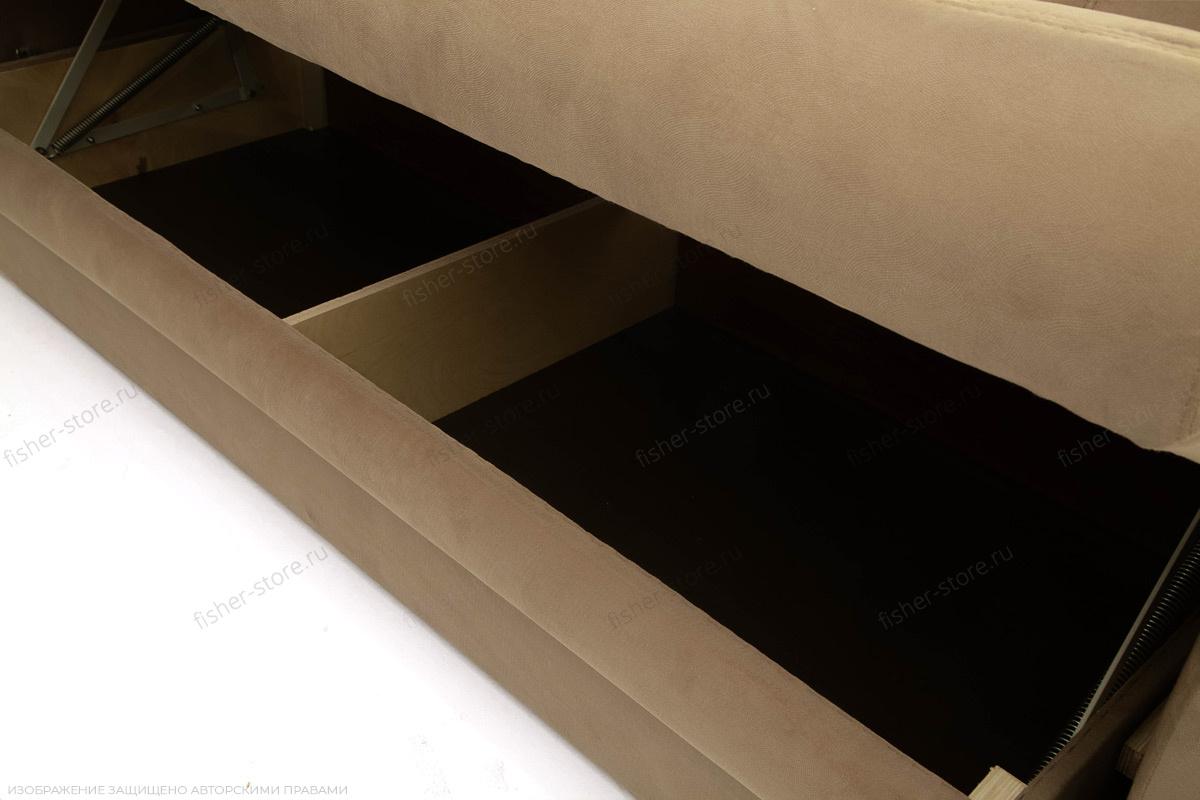 Прямой диван еврокнижка Варшава люкс Maserati Light brown + Alfa 04 Ящик для белья