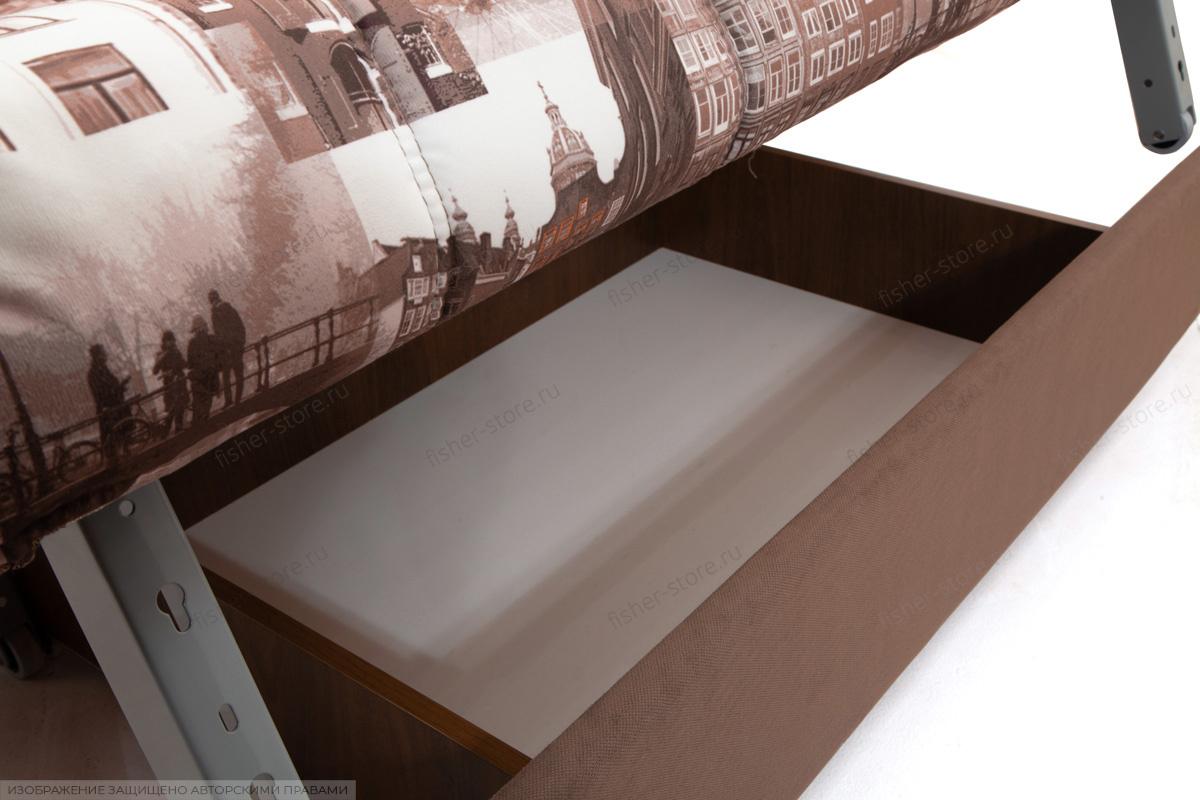 Прямой диван Виа-5 Amsterdam Sepia + Amigo Brown Ящик для белья