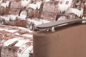 Прямой диван Виа-5 Amsterdam Sepia + Amigo Brown Подлокотник
