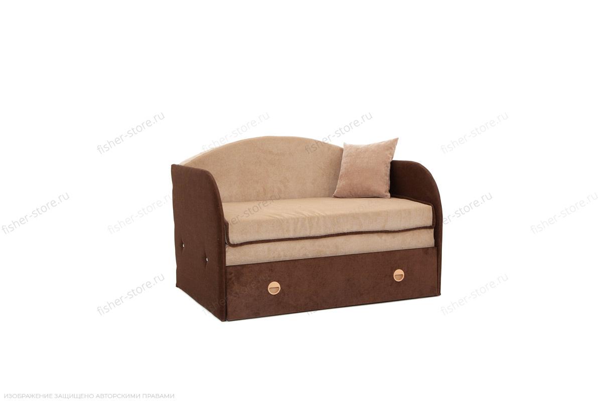Прямой диван Кроха (100) Energy Beige + Energy Chocolate Вид по диагонали