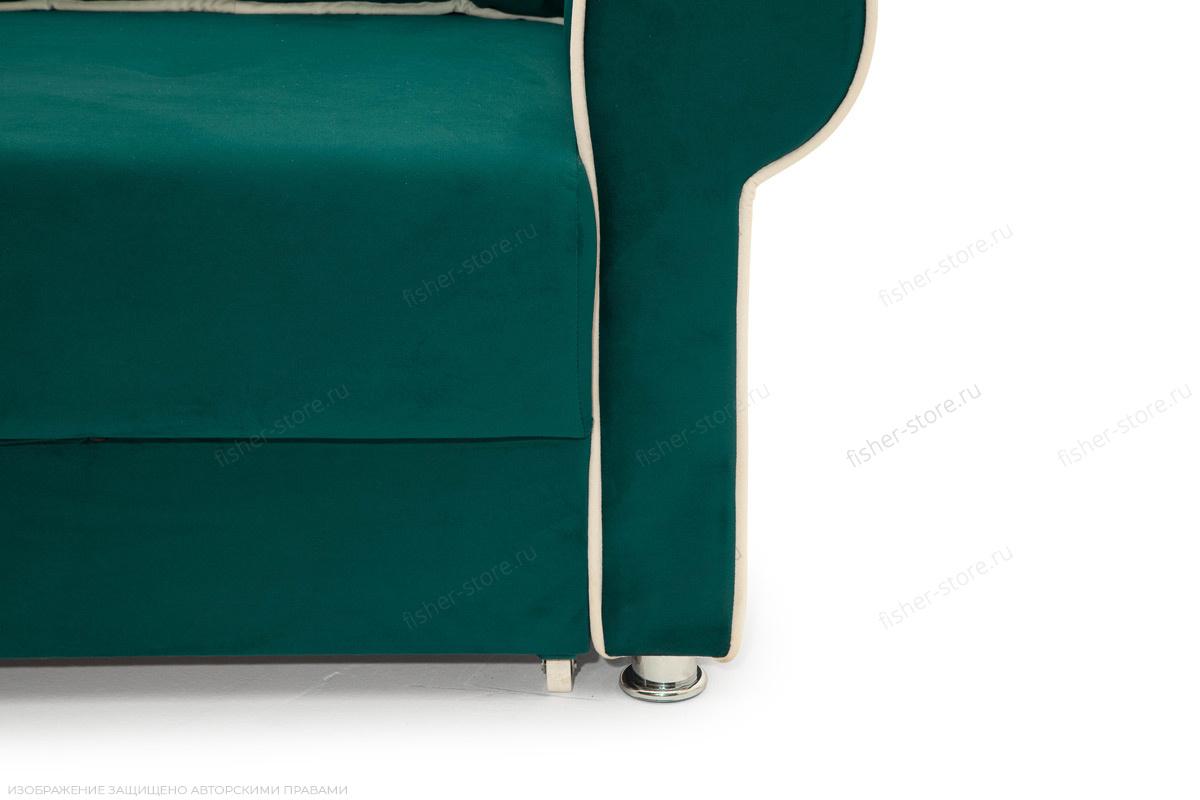 Прямой диван Милфорд Velutto Emerald + Velutto White Ножки