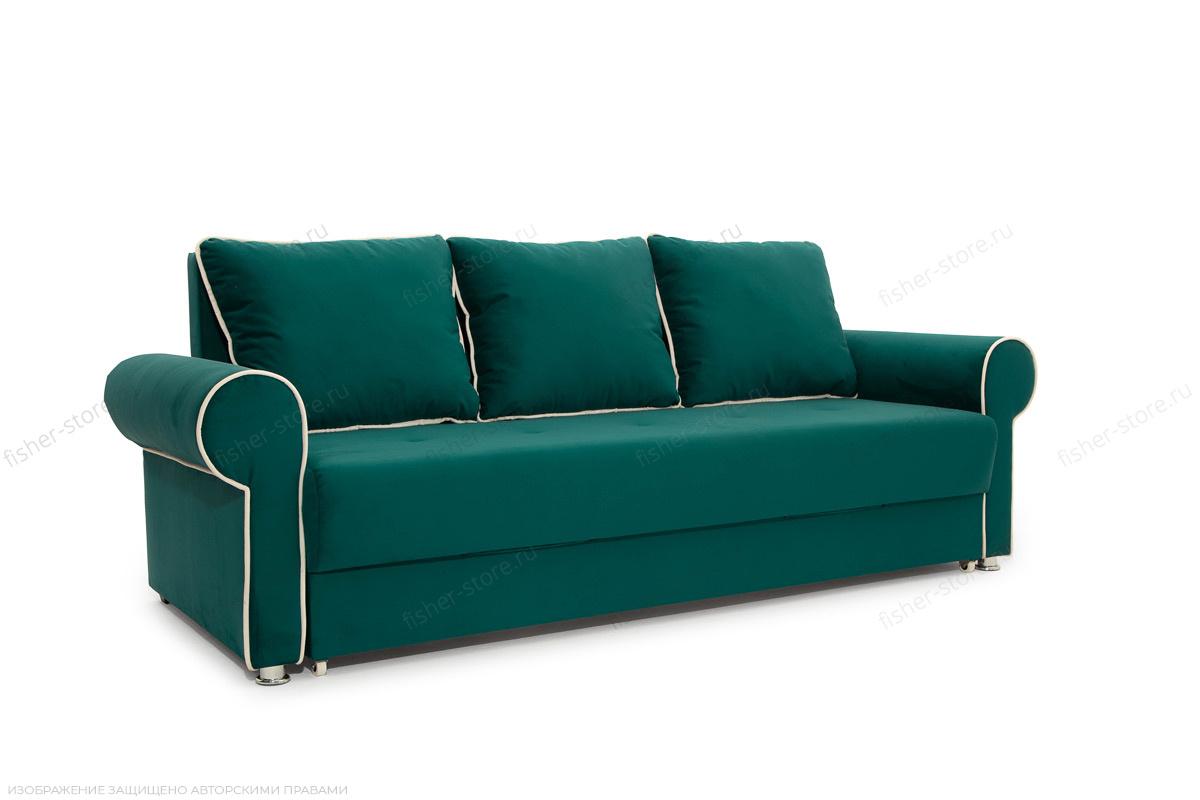 Прямой диван Милфорд Velutto Emerald + Velutto White Вид по диагонали