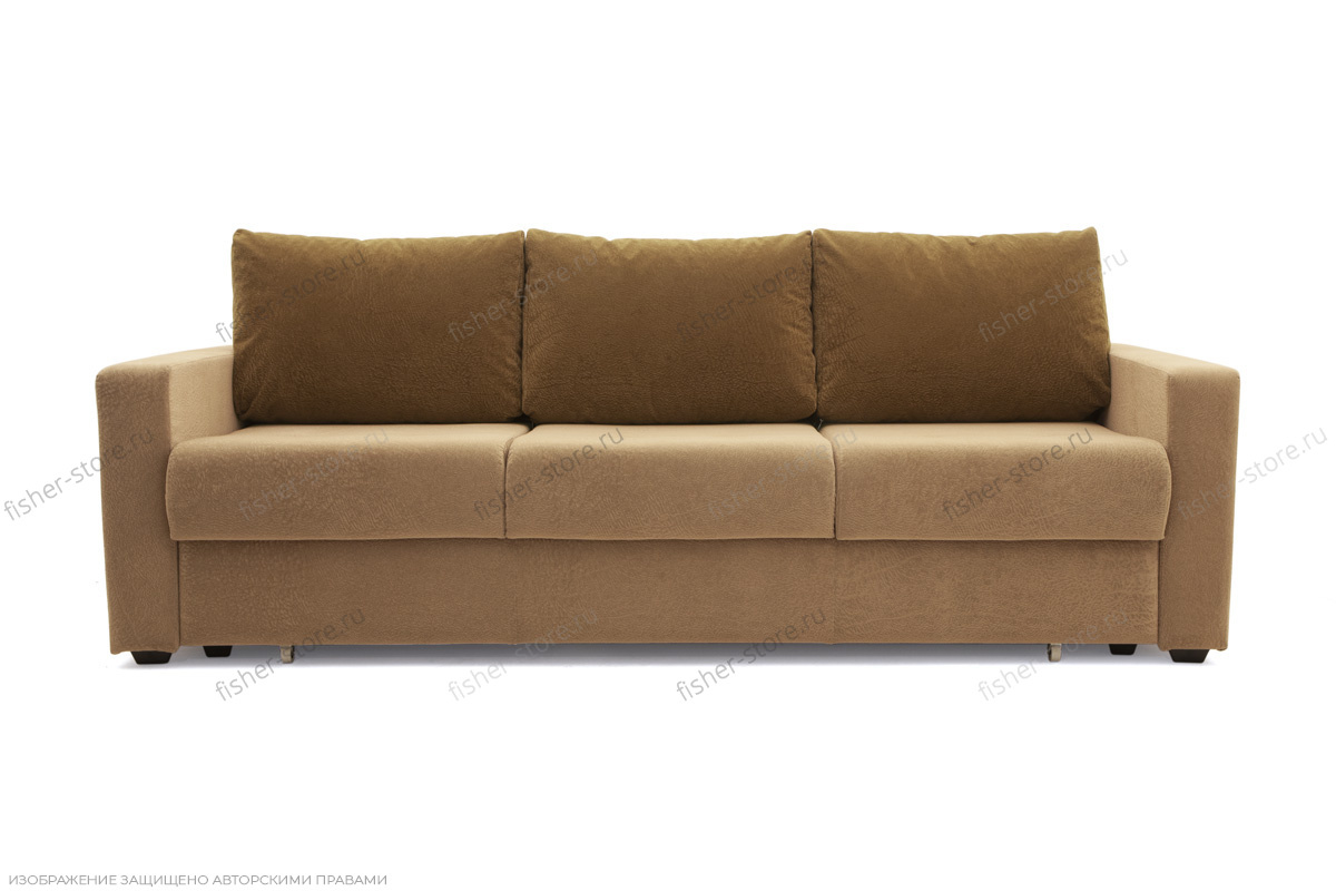 Прямой диван еврокнижка Селена-2 Golden Flece latte + Golden Fleece lungo Вид спереди