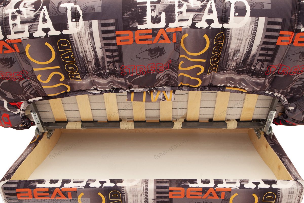 Прямой диван Самурай с опорой №3 Music Grafit Ящик для белья
