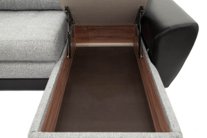 Угловой диван Император-2 Big Grey + Sontex Black Ящик для белья
