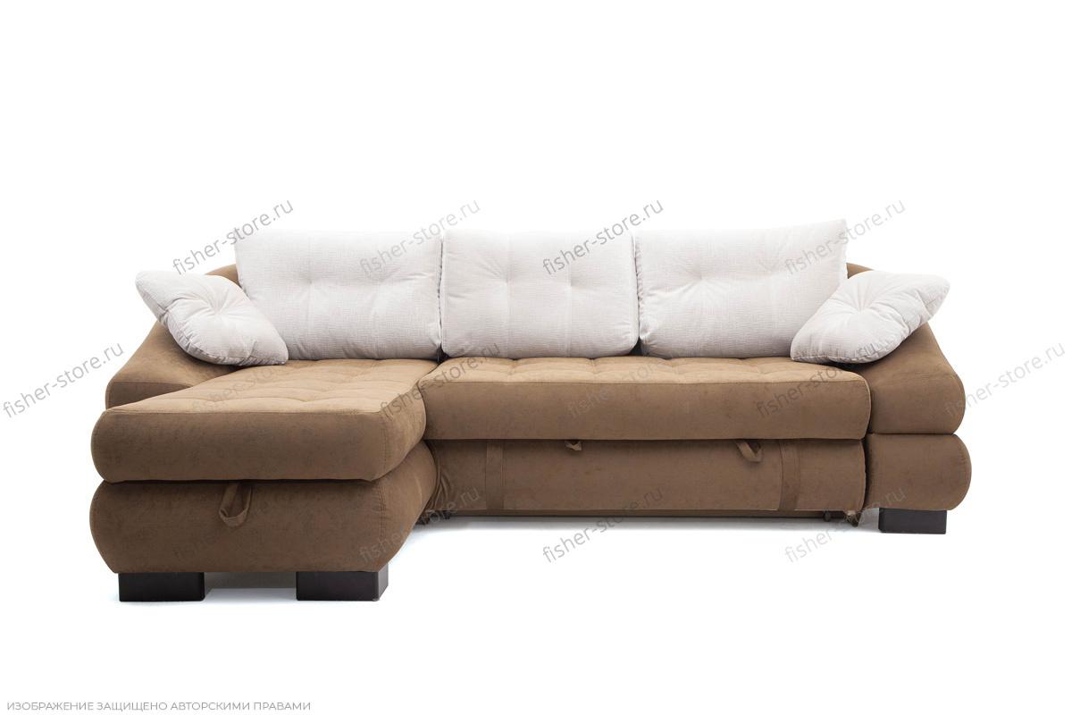 Угловой диван Премиум Medly Chocolate + Medly Bone Вид спереди