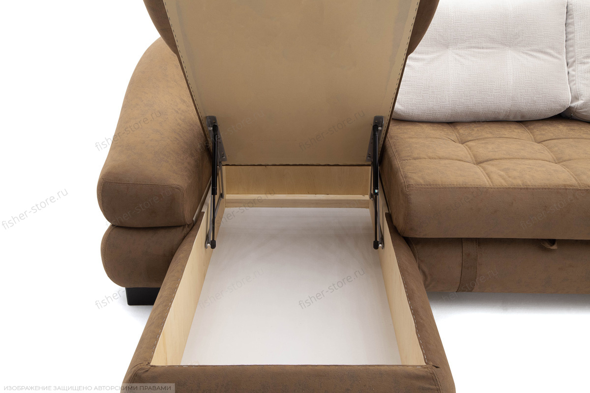 Угловой диван Премиум Medly Chocolate + Medly Bone Ящик для белья