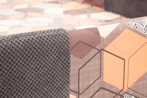 Двуспальный диван Экзотика Citus Grafit + Geometry Brown Текстура ткани