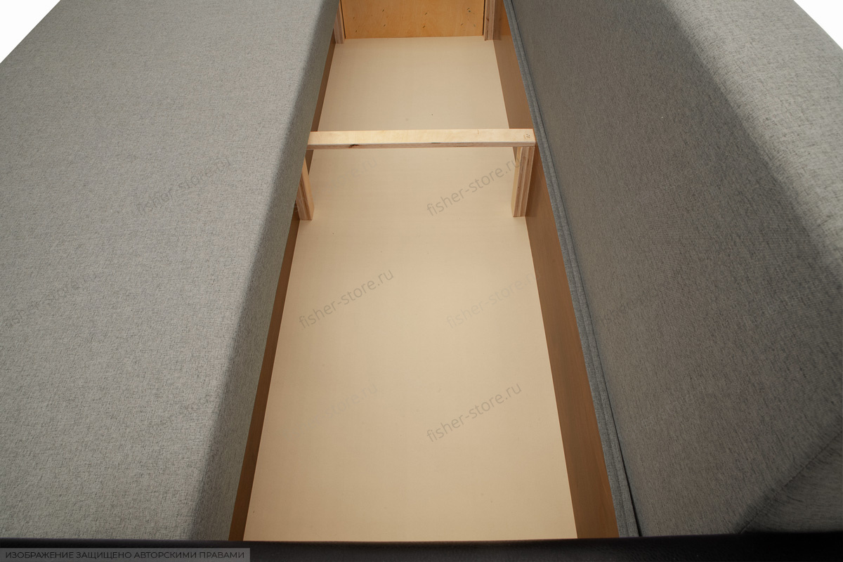 Прямой диван Амстердам эконом Dream Grey + Sontex Black Ящик для белья