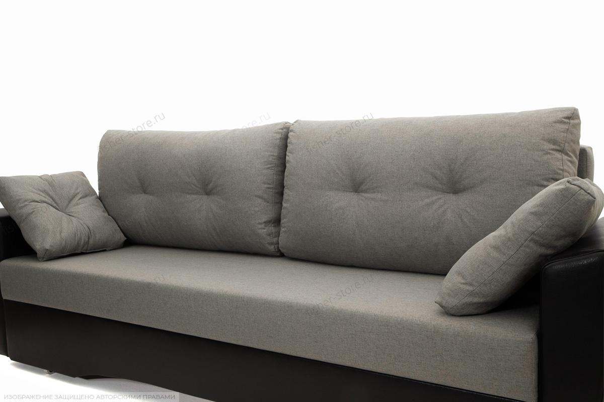 Прямой диван Амстердам эконом Dream Grey + Sontex Black Подушки