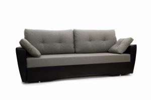 Прямой диван Амстердам эконом Dream Grey + Sontex Black Вид по диагонали