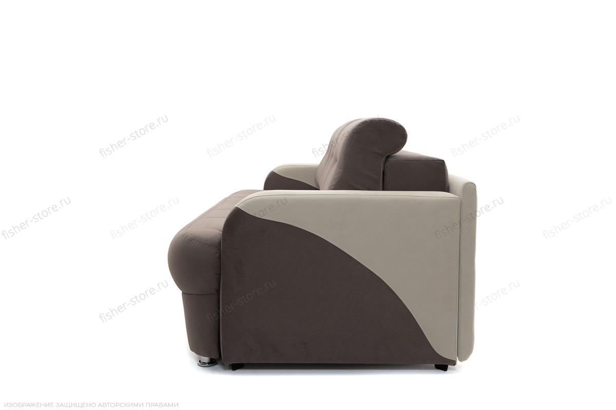 Прямой диван еврокнижка Эдем Amigo Chocolate + Amigo Cream Вид сбоку