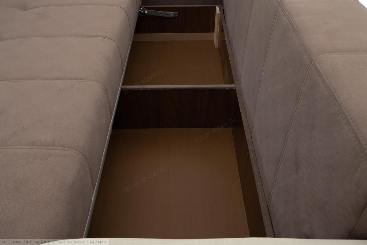 Прямой диван еврокнижка Эдем Amigo Chocolate + Amigo Cream Ящик для белья