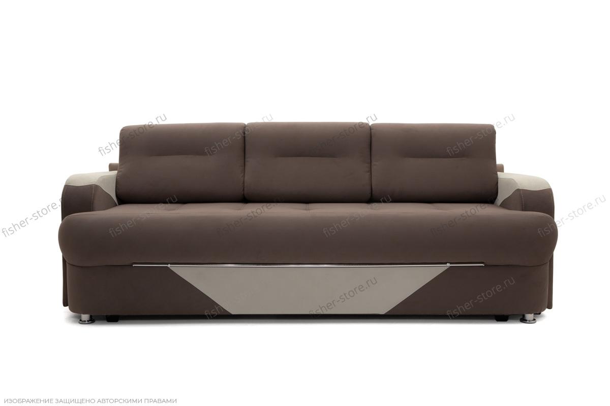 Прямой диван еврокнижка Эдем Amigo Chocolate + Amigo Cream Вид спереди