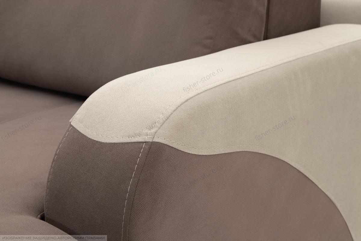 Прямой диван еврокнижка Эдем Amigo Chocolate + Amigo Cream Подлокотник
