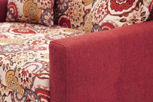 Прямой диван Этро люкс с опорой №5 History Summer + Orion Red Подлокотник