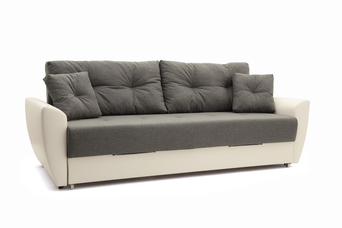 Прямой диван Винтаж Dream Grey + Sontex Milk Вид по диагонали