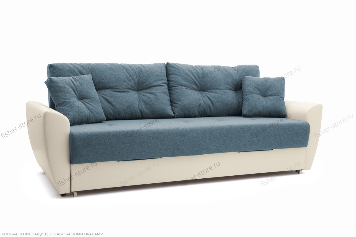 Прямой диван Винтаж Dream Blue + Sontex Milk Вид по диагонали