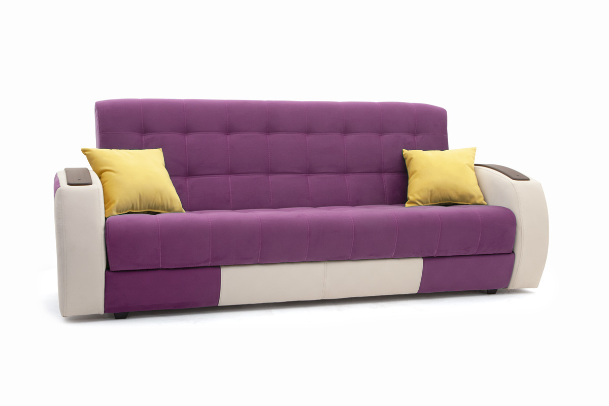 Прямой диван Вито-4 Maserati Purple + White Вид по диагонали